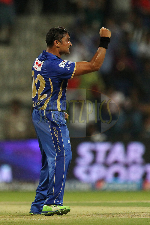 Pravin Tambe of the Rajatshan Royals celebrates the wicket of Jacques Kallis of the Kolkata Knight Riders during match 19 of the Pepsi Indian Premier League 2014 Season between The Kolkata Knight Riders and the Rajasthan Royals held at the Sheikh Zayed Stadium, Abu Dhabi, United Arab Emirates on the 29th April 2014<br /> <br /> Photo by Ron Gaunt / IPL / SPORTZPICS