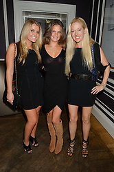 Left to right, LADY KITTY SPENCER, LADY JEMIMA HERBERT and BELINDA DeLUCY McKEEVE at the Tatler Little Black Book Party held at Home House Private Member's Club, Portman Square, London supported by CARAT on 6th November 2014.