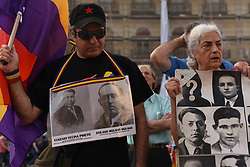 June 1, 2017 - Madrid, Spain - Protesters shout slogans and hold a banner with pictures of missing people during the Spanish dictatorship of Francisco Franco, as they take part in protest in Madrid against the impunity for the crimes committed in Spain between 1936 and 1975. (Credit Image: © Jorge Sanz/Pacific Press via ZUMA Wire)