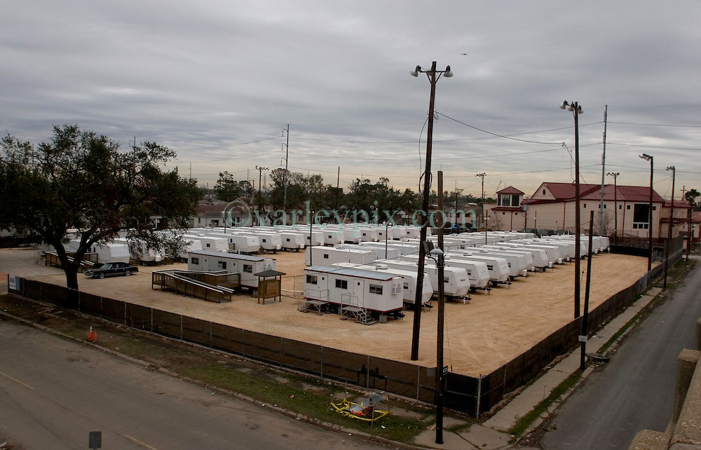 10 December, 05. New Orleans, Louisiana. Post Katrina aftermath.<br />  3 1/2 months after the storm, an empty FEMA trailer park sits on what was once a baseball field in the Gentilly neighbourhood.<br /> Photo; &copy;Charlie Varley/varleypix.com
