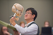 Youngsun Kim, Associate Professor, School of Rehabilitation and  Communication Sciences lectures about anatomy and physiology in Walter Hall.