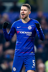 Jorginho of Chelsea celebrates victory over Tottenham Hotspur to reach the Carabao Cup Final - Mandatory by-line: Robbie Stephenson/JMP - 24/01/2019 - FOOTBALL - Stamford Bridge - London, England - Chelsea v Tottenham Hotspur - Carabao Cup