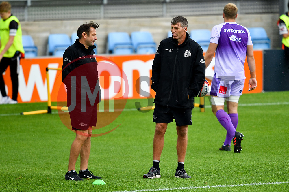 Rob Baxter talks with Ali Hephur - Mandatory by-line: Ryan Hiscott/JMP - 21/09/2019 - RUGBY - Sandy Park - Exeter, England - Exeter Chiefs v Bath Rugby - Premiership Rugby Cup