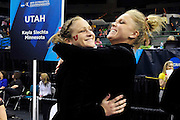 University of Utah freshman Lia Del Priore, left, and senior Gael Mackie, right, celebrate after they learn they will advance to the super six round of the 2011 Women's NCAA Gymnastics Championship tournament on April 15, in Cleveland, OH. (photo/Jason Miller)