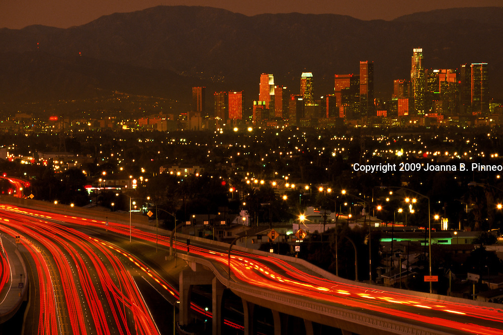 Los Angeles traffic at twilight.