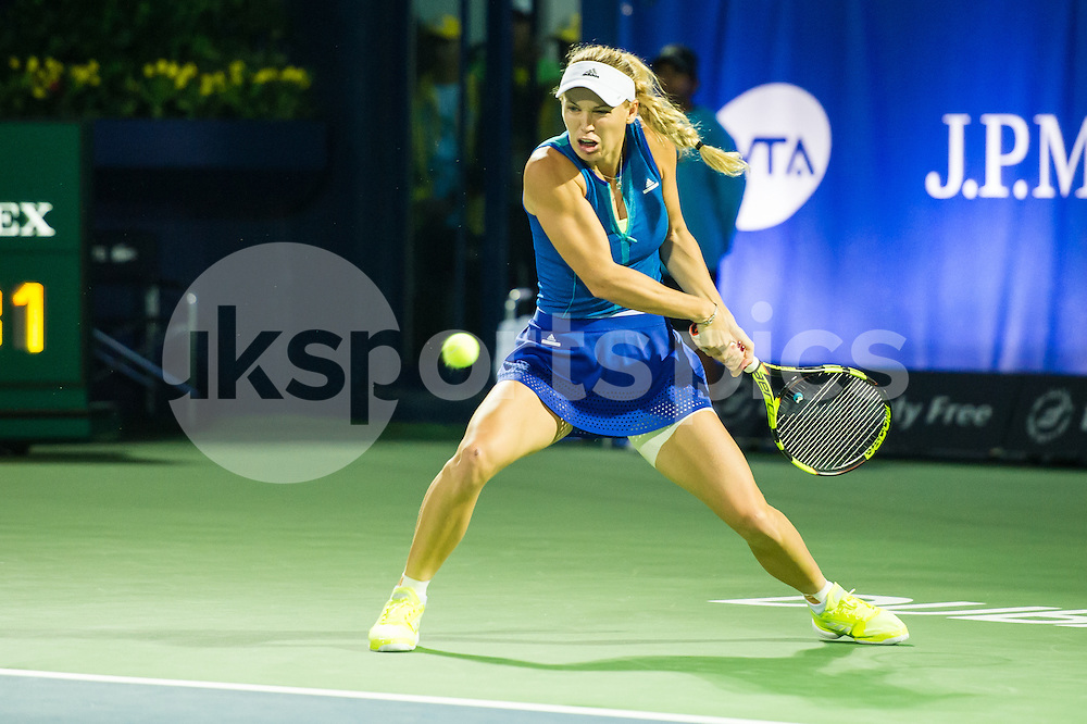 Caroline Wozniacki of Denmark in action during the Dubai Duty Free Tennis Championship at the Dubai International Tennis Stadium, Dubai, UAE on 23 February 2017. Photo by Grant Winter.