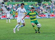 Tampa Bay Rowdies midfielder Andrew Tinari(15) and Swope Park Rangers midfielder Felipe Harnandez(85) battle for the ball during a USL soccer game, Sunday, May 26, 2019, in St. Petersburg, Fla. The Rowdies defeated the Rangers 1-0. (Brian Villanueva/Image of Sport)