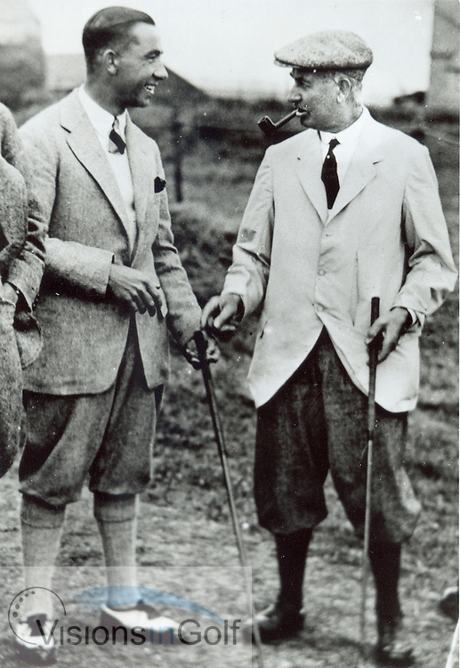 Walter Hagen and Harry Vardon enjoy a chat at the Open Championship 1922 at  Royal St. George's GC, Sandwich <br /> Picture Credit: &copy;Visions In Golf / Michael Hobbs / Mark Newcombe