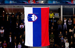 Slovenian flag during national anthem after the during ice-hockey match between Slovenia and Latvia of Group G in Relegation Round of IIHF 2011 World Championship Slovakia, on May 5, 2011 in Orange Arena, Bratislava, Slovakia. Slovenia defeated Latvia 5-2. (Photo By Vid Ponikvar / Sportida.com)