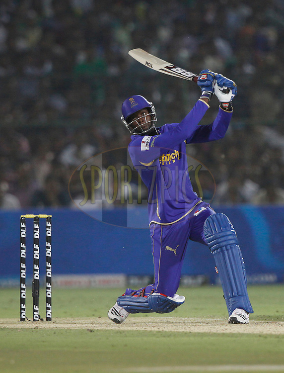 Rajasthan Royals player Kevon Cooper play a shot during match 30 of the the Indian Premier League ( IPL) 2012  between The Rajasthan Royals and the Royal Challengers Bangalore held at the Sawai Mansingh Stadium in Jaipur on the 23rd April 2012..Photo by Pankaj Nangia/IPL/SPORTZPICS