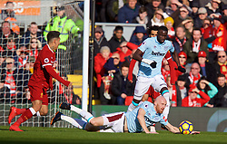 LIVERPOOL, ENGLAND - Saturday, February 24, 2018: West Ham United's James Collins handles the ball during the FA Premier League match between Liverpool FC and West Ham United FC at Anfield. (Pic by David Rawcliffe/Propaganda)