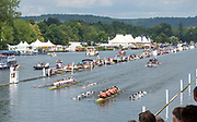 Henley on Thames, England, United Kingdom, Sunday, 07.07.19, Oxford Brookes University A (foreground) and <br /> Hollandia Roeiclub, Netherlands, NED,  (background), passing Stewards' Enclosure in the Final, of The Ladies' Challenge Plate,, Henley Royal Regatta,  Henley Reach, [©Karon PHILLIPS/Intersport Images]<br /> <br /> 13:16:58 1919 - 2019, Royal Henley Peace Regatta Centenary,