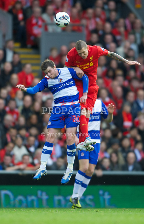 LIVERPOOL, ENGLAND - Saturday, October 20, 2012: Liverpool's Martin Skrtel in action against Reading's Danny Guthrie during the Premiership match at Anfield. (Pic by David Rawcliffe/Propaganda)