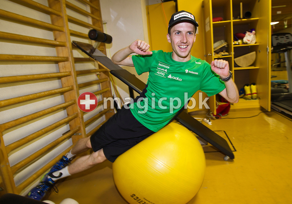 Ski Jumper Simon (Simi) AMMANN of Switzerland, double double Olympic Champion, is pictured during weight training in the gym at the secondary school of the Benedictine Abbey of Einsiedeln in Einsiedeln, Switzerland, Friday, June 3, 2011. (Photo by Patrick B. Kraemer / MAGICPBK)