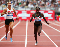 July 22, 2018 - London, United Kingdom - L-R Dafne Schippers of Netherlands Dina Asher-Smith of Great Britain and Northern Ireland  compete in the 200m Women .during the Muller Anniversary Games IAAF Diamond League Day Two at The London Stadium on July 22, 2018 in London, England. (Credit Image: © Action Foto Sport/NurPhoto via ZUMA Press)