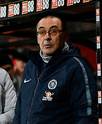 Chelsea manager Maurizio Sarri before the Premier League match between Bournemouth and Chelsea at the Vitality Stadium, Bournemouth, England on 30 January 2019.