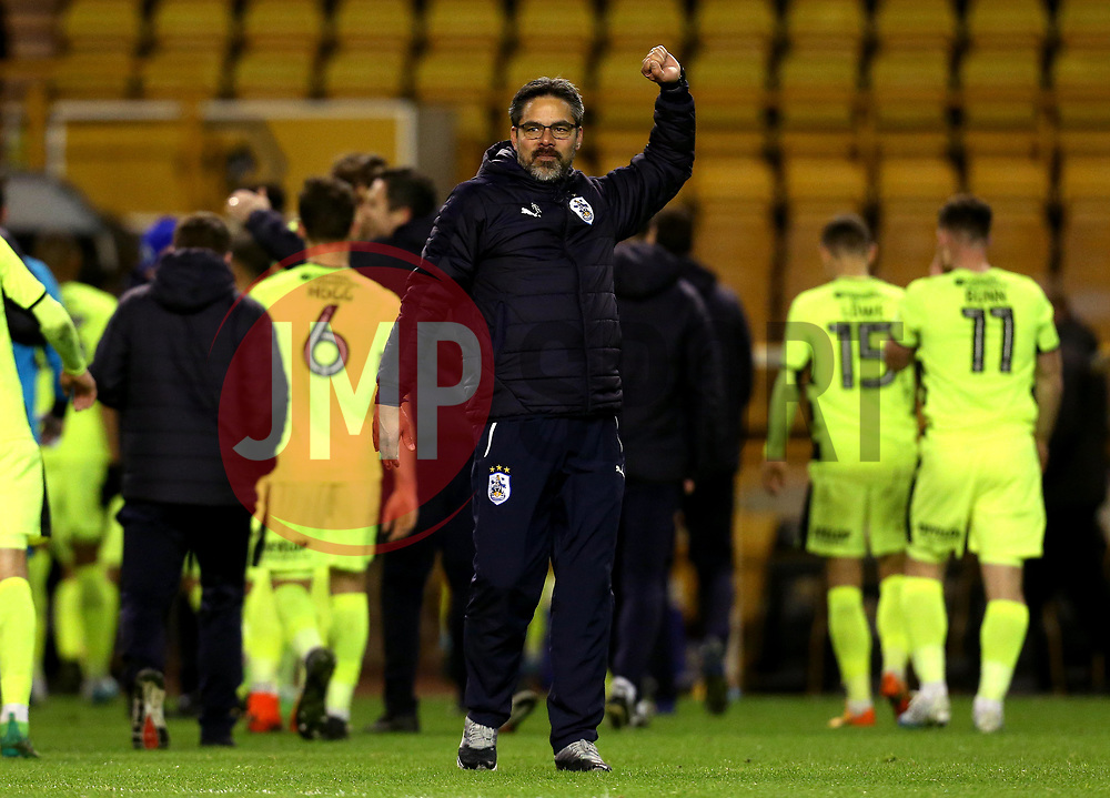Huddersfield Town manager David Wagner punches the air in celebrate after his side seal a playoff place in the Sky Bet Championship - Mandatory by-line: Robbie Stephenson/JMP - 25/04/2017 - FOOTBALL - Molineux - Wolverhampton, England - Wolverhampton Wanderers v Huddersfield Town - Sky Bet Championship