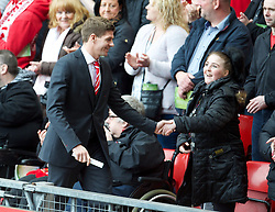 15.04.2013, Anfield Road, Liverpool, ENG, PL, Liverpool FC, 24. Jahrestag der Hillsborough Katastrophe, im Bild Liverpool's captain Steven Gerrard during the 24th Anniversary Hillsborough Service at Anfield, Liverpool, United Kingdom on 2013/04/15. EXPA Pictures © 2013, PhotoCredit: EXPA/ Propagandaphoto/ David Rawcliffe..***** ATTENTION - OUT OF ENG, GBR, UK *****