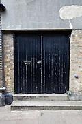 Closed front door of building