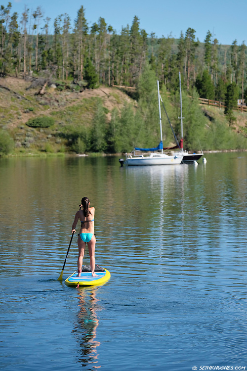Stand up paddle boarding, Frisco Marina, Summit County, Colorado