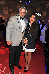 DR DIWAN RAHUL NANDA Global Chairman of TOPSGRUP and his daughter RASSHI NANDA at the annual Collars & Coats Gala Ball in aid of Battersea Dogs & Cats Home held at Battersea Evolution, Battersea Park, London on 11th November 2011.