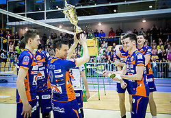 Matija Plesko of ACH and other players of ACH celebrate after the volleyball game between OK Panvita Pomgrad and ACH Volley in Final of 1st DOL Slovenian National Championship 2014, on April 15, 2014 in Murska Sobota, Slovenia. ACH won 3-1 and became Slovenian Volleyball Champion 2014. Photo by Vid Ponikvar / Sportida