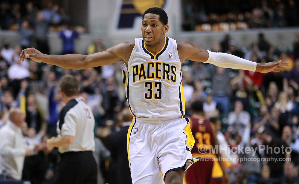 Dec. 30, 2011; Indianapolis, IN, USA; Indiana Pacers small forward Danny Granger (33) celebrates late in the game against the Cleveland Cavaliers at Bankers Life Fieldshouse. Indiana defeated Cleveland 81-91. Mandatory credit: Michael Hickey-US PRESSWIRE