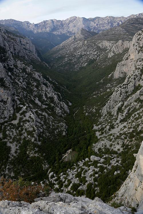 Large canyon and part of Velebit mountain range, Paklenica National Park,  Croatia.