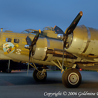 05 October 2006:  A restored and flying B-17 World War II bomber in a light painting in Westminster, MD. This plane is one of only fourteen B-17s still flying in the United States and is maintained by the Collings Foundation.  Exposure was 1 minute