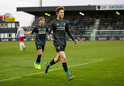 GRÖDIG, AUSTRIA - Tuesday, December 10, 2019: Liverpool's Thomas Hill celebrates scoring the second goal during the final UEFA Youth League Group E match between FC Salzburg and Liverpool FC at the Untersberg-Arena. (Pic by David Rawcliffe/Propaganda)