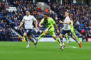 Huddersfield Striker Nakhi Wells strikes during the Sky Bet Championship match between Preston North End and Huddersfield Town at Deepdale, Preston, England on 6 February 2016. Photo by Pete Burns.