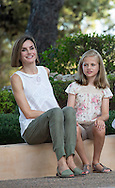 Palma de Mallorca, 03-08-2015<br /> <br /> Photo session with King Felipe and Queen Letizia and their daughters Princess Leonore and Princess Sofia in the Garden of the Marivent Palace.<br /> <br /> <br /> Royalportraits Europe/Bernard Ruebsamen
