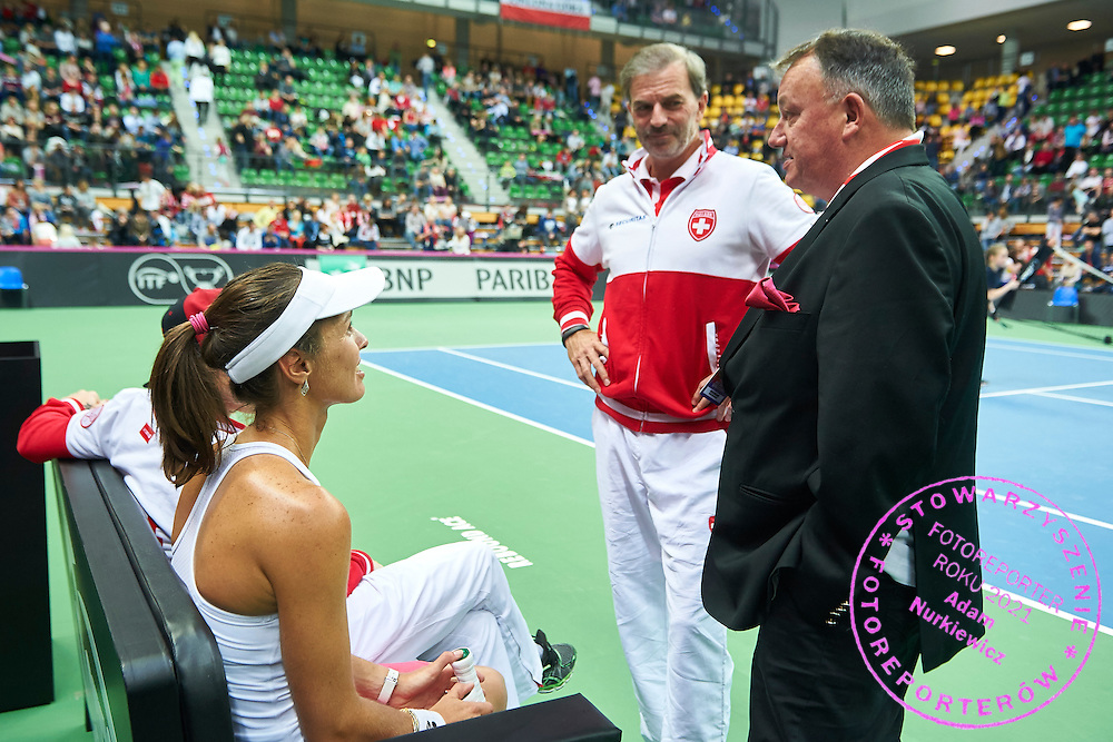 (L) Martina Hingis and (C) Heinz Guenthardt - captain national team and (R) Swiss Tennis president Rene Stammbach during the Fed Cup / World Group Play Off tennis match between Poland and Switzerland on April 18, 2015 in Zielona Gora, Poland<br /> Poland, Zielona Gora, April 18, 2015<br /> <br /> Picture also available in RAW (NEF) or TIFF format on special request.<br /> <br /> For editorial use only. Any commercial or promotional use requires permission.<br /> <br /> Adam Nurkiewicz declares that he has no rights to the image of people at the photographs of his authorship.<br /> <br /> Mandatory credit:<br /> Photo by &copy; Adam Nurkiewicz / Mediasport