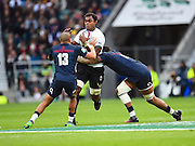 Fijian lock Leone Nakarawa looks to break through a tackle during the Autumn International Series match between England and Fiji at Twickenham, Richmond, United Kingdom on 19 November 2016. Photo by Ian  Muir.