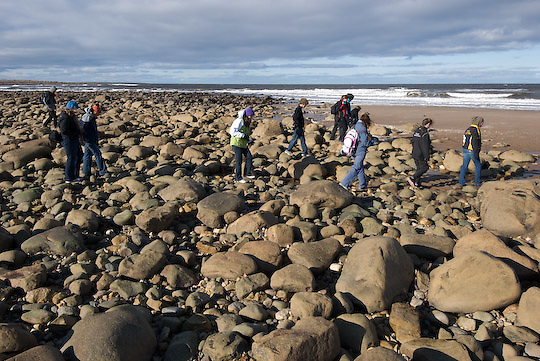 PBI Leadership Camp students take a walk down by the edge of Hudson Bay.