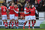 Rotherham United player Kyle Vassell (7), Rotherham United player Chiedozie Ogbene (19), Rotherham United player Ben Wiles (8) and Rotherham United player Michael Smith (24) celebrates goal scored by Rotherham United player Michael Smith (24) to go 2-0 during the EFL Sky Bet League 1 match between Rotherham United and Bristol Rovers at the AESSEAL New York Stadium, Rotherham, England on 18 January 2020.