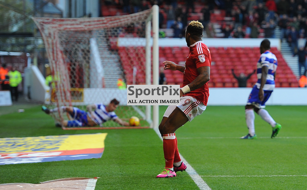 Britt Assombalonga of Notts Forest watches his goal cross the line during Nottingham Forest vs Queens Park Rangers, Championship, 5.11.16 (c) Harriet Lander | SportPix.org.uk