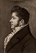 Stendahl, pseudonym of Henri Marie Beyle (1783-1842) French novelist.  His masterpieces are 'Le Rouge et le Noir'  (The Red and the Black) (1830) and 'La Chatreuse de Parme' (The Charterhouse of Parma) (1839). Lithograph.