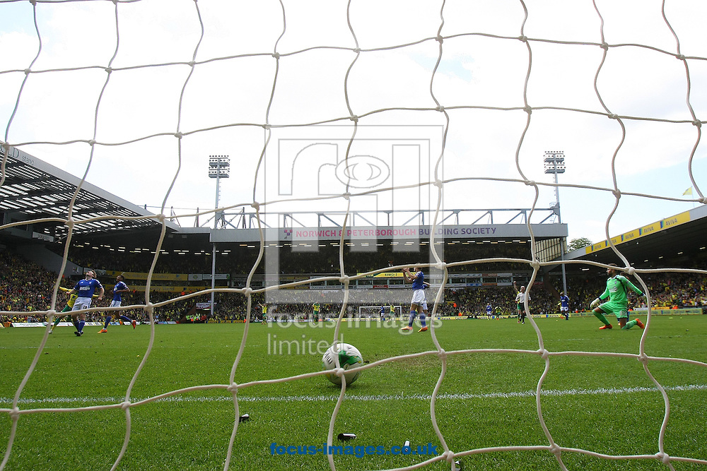 Cameron Jerome of Norwich scores his sides 3rd goal during the Sky Bet Championship match at Carrow Road, Norwich<br /> Picture by Paul Chesterton/Focus Images Ltd +44 7904 640267<br /> 16/05/2015