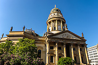 Berlin, Germany. The Gendarmenmarkt is a large and famous square in Berlin. The Deutscher Dom, reconstructed and reopened 1988.