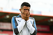Riyad Mahrez (26) of Leicester City covers his face with his hands as he walks off the pitch before the Premier League match between Bournemouth and Leicester City at the Vitality Stadium, Bournemouth, England on 30 September 2017. Photo by Graham Hunt.