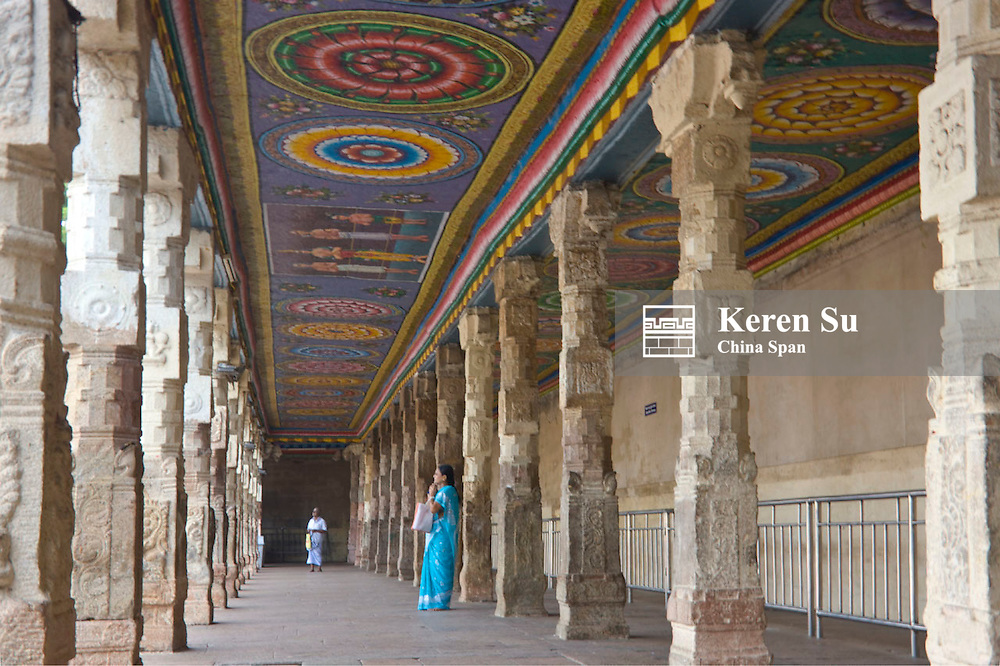Painted ceiling and carved columns, Sree Meenakshi Temple complex, Madurai, Tamil Nadu State, India