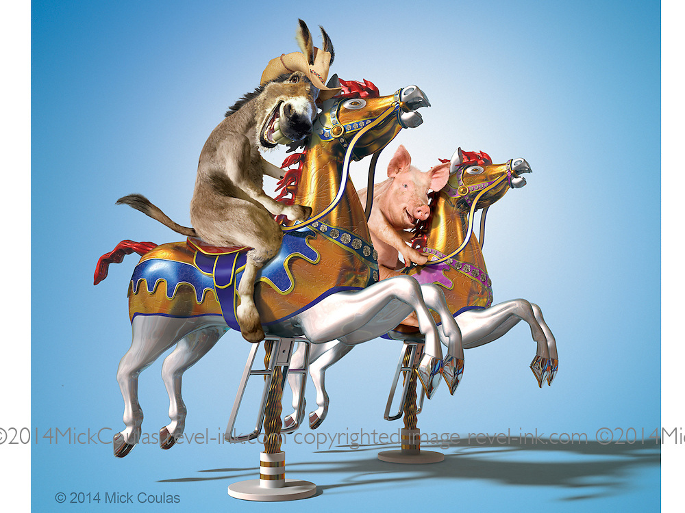 Just when you thought carousels were for kids! 3D and Photoshop for Kentucky State Fair Promotion