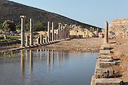 Main street, connecting the inner harbour to the agora in front of the bouleuterion, looking towards the Southern Gate, Hellenistic period, Patara, Antalya, Turkey. This is a Cardo (North-South street) which intersects with the Decumanus (East-West street). It is 12.6m wide and has a colonnade of granite Ionic columns on its East side and one of marble columns on the West, behind which are shops of varying sizes. This colonnaded wide avenue was completely flooded after the earthquakes in the region, and so far, it has been unearthed over 100m. The lack of wheel marks suggests that it functioned as a pedestrian street. There is a sewer system running underneath the street. Patara was a maritime Greek and Roman city on the South West Mediterranean coast of Lycia near modern-day Gelemis. It was said to be founded by Patarus, son of Apollo, and was famous for its temple and oracle of Apollo. It was a leading city of the Lycian League. Picture by Manuel Cohen