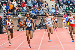 April 27, 2018 - Philadelphia, Pennsylvania, U.S - Auburn, Oklahoma University and others  in action during the CW 4x100 Championship of America at the 124th running of the Penn Relays at Franklin Field in Philadelphia PA (Credit Image: © Ricky Fitchett via ZUMA Wire)