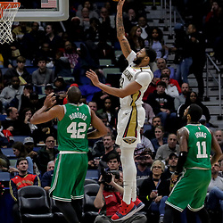 Nov 26, 2018; New Orleans, LA, USA; New Orleans Pelicans forward Anthony Davis (23) shoots over Boston Celtics center Al Horford (42) and guard Kyrie Irving (11) during the second half at the Smoothie King Center. Mandatory Credit: Derick E. Hingle-USA TODAY Sports