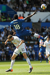 Mame Biram Diouf of Stoke City wins the highball -Mandatory by-line: Nizaam Jones/JMP- 13/05/2018 - FOOTBALL - Liberty Stadium - Swansea, Wales - Swansea City v Stoke City - Premier League