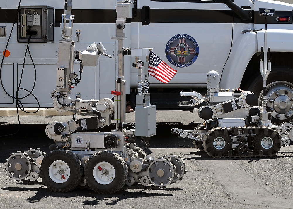 jt052317j/ a sec/jim thompson/Robots outside of the Farmington Bomb Squad Truck at the Western National Robot Redo held at Sandia National Labs. Tuesday May. 23, 2017. (Jim Thompson/Albuquerque Journal)