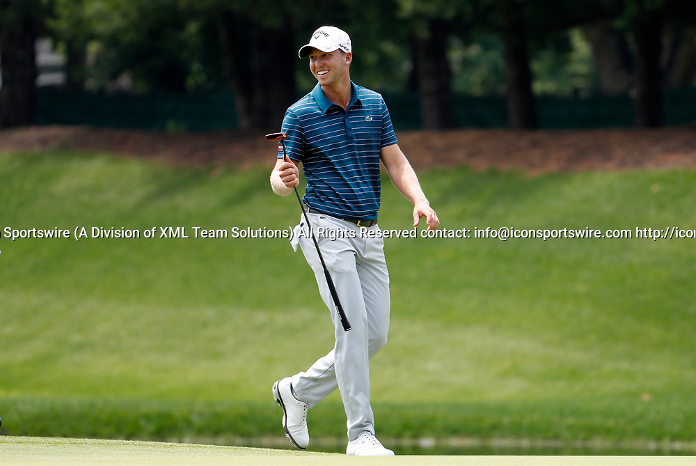 CROMWELL, CT - JUNE 23: Daniel Berger walks to the 8th green during the second round of the Travelers Championship on June 23, 2017, at TPC River Highlands in Cromwell, Connecticut. (Photo by Fred Kfoury III/Icon Sportswire)