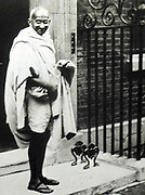 Mahatma K Gandhi (1869-1948)  Indian Lawyer and leader of the movement for India's independence, visited Britain in 1931, ,to attend the second Round Table conference. he visited the British Prime Minister, Ramsay MacDonald, at 10 Downing Street.